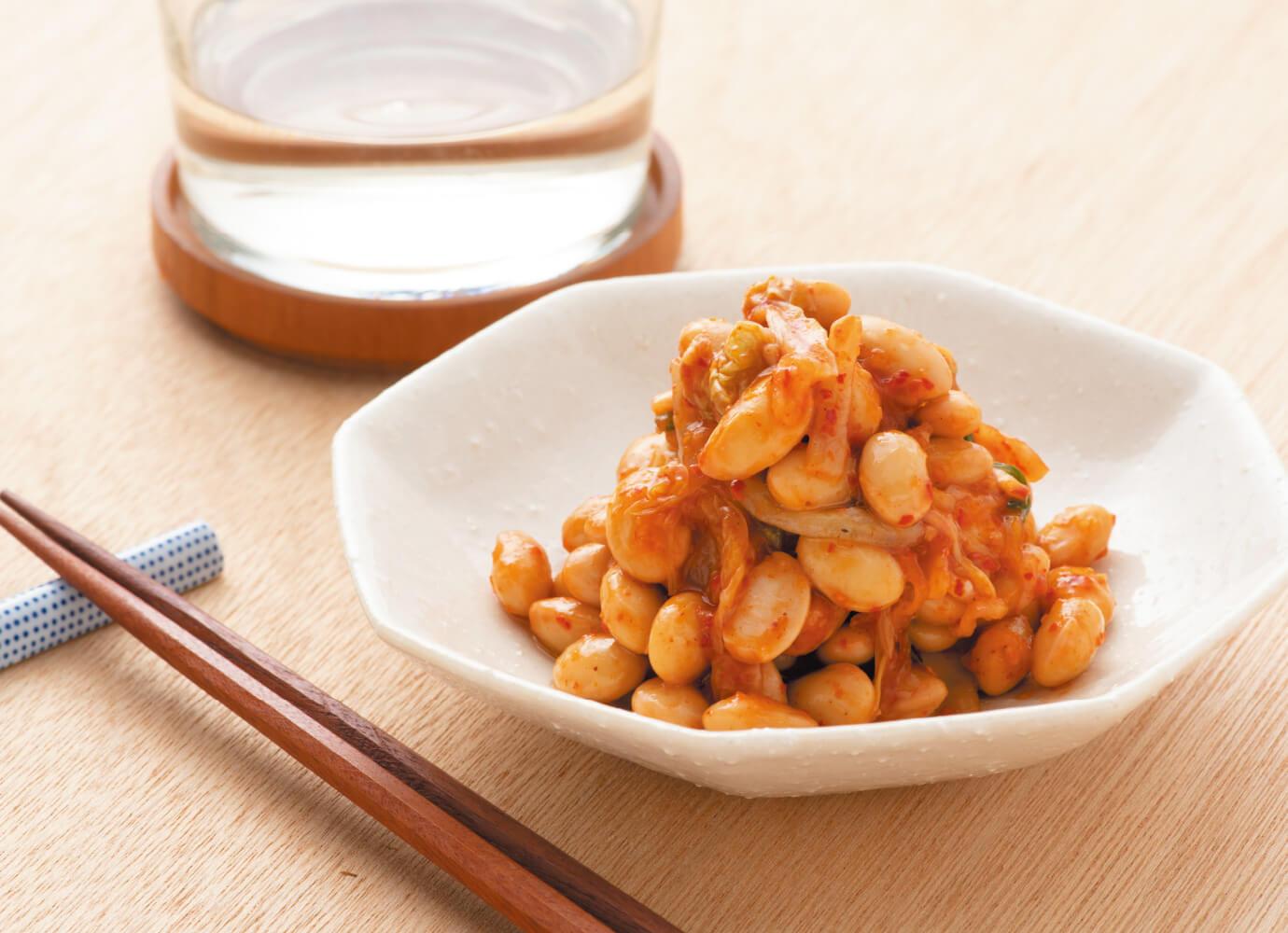 大豆とキムチのナムル